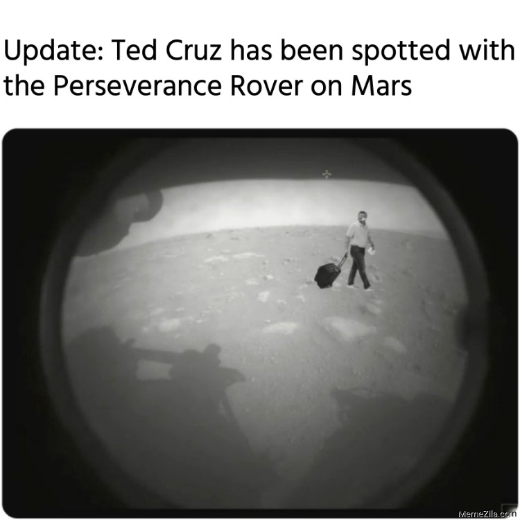 Update Ted Cruz has been spotted with the Perseverance Rover on Mars meme