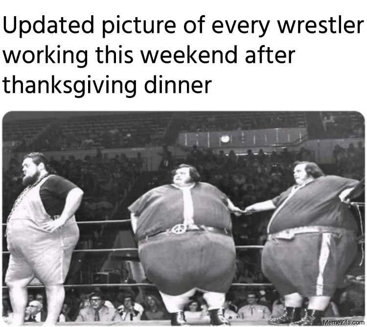 Updated picture of every wrestler working this weekend after thanksgiving dinner meme