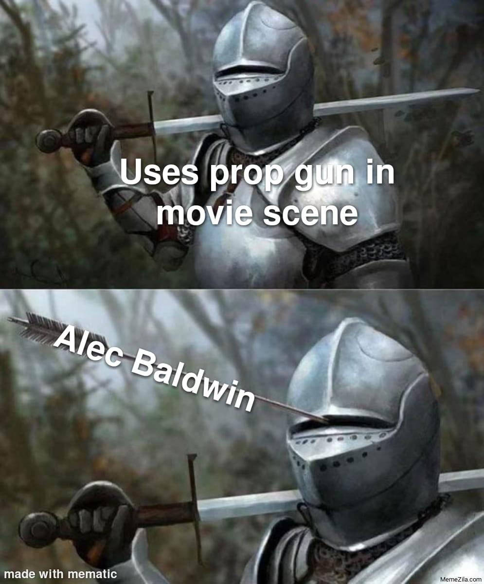 Uses prop gun in movie scene Meanwhile Alec Baldwin meme