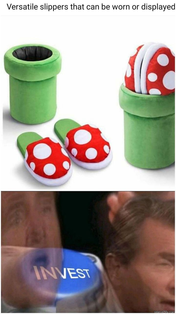 Versatile slippers that can be worn or displayed Invest meme