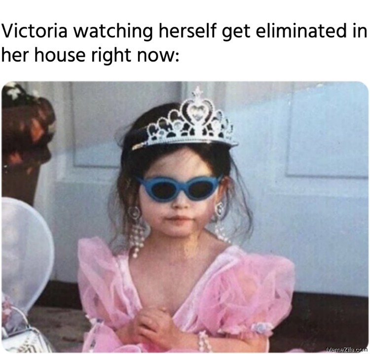 Victoria watching herself get eliminated in her house right now meme