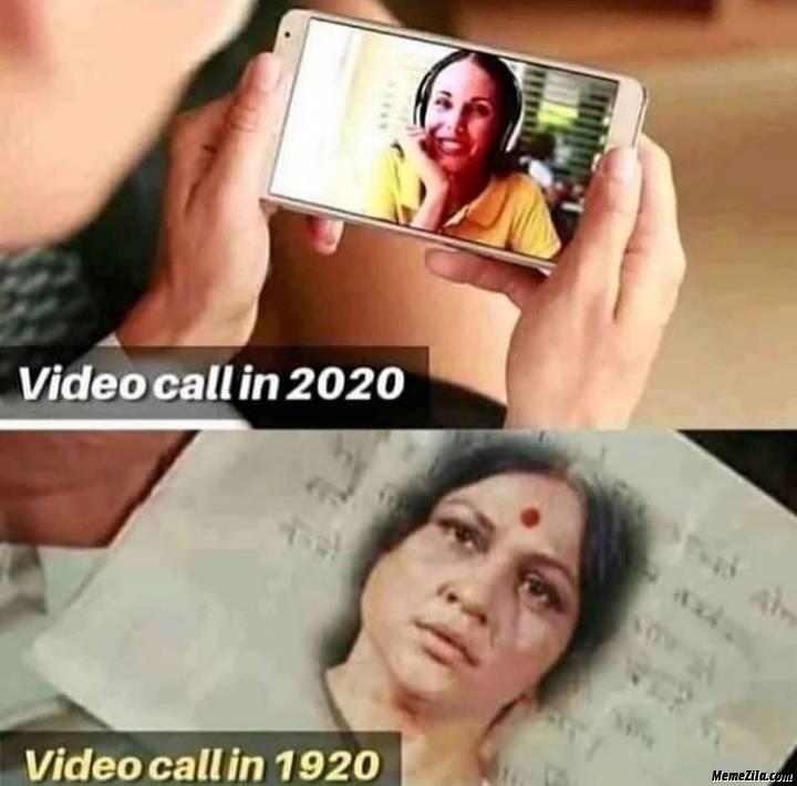 Video call in 2020 vs video call in 1920 meme