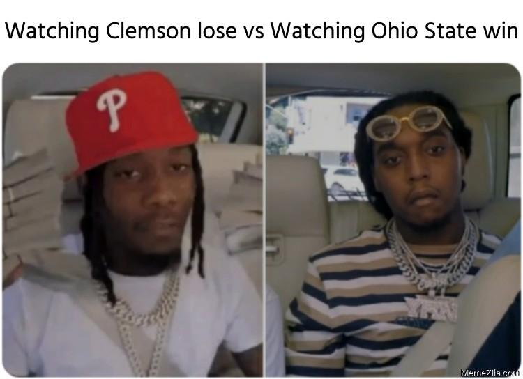 Watching Clemson lose vs watching Ohio State win meme