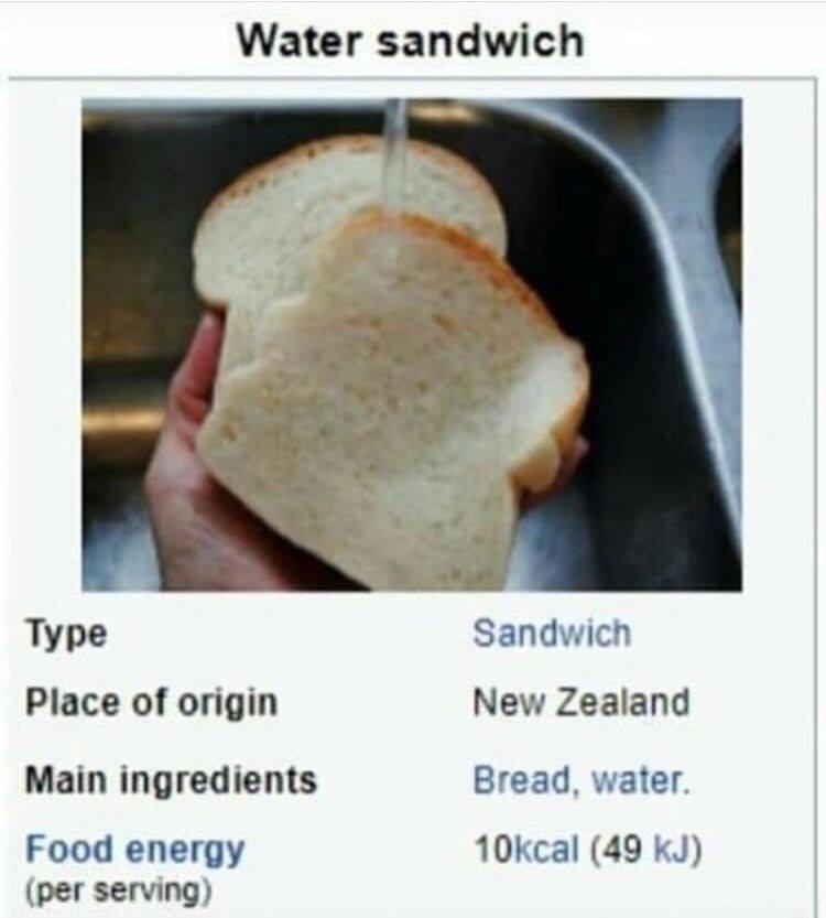 Water sandwich recipe meme