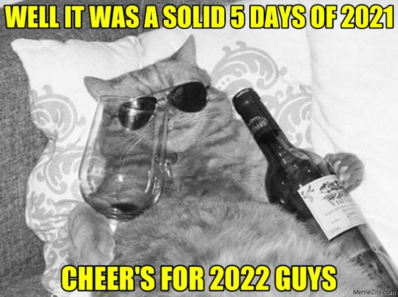 Well it was a solid 5 days of 2021 Cheers for 2022 guys cat meme