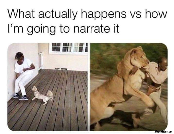 What actually happens vs how I am going to narrate it meme