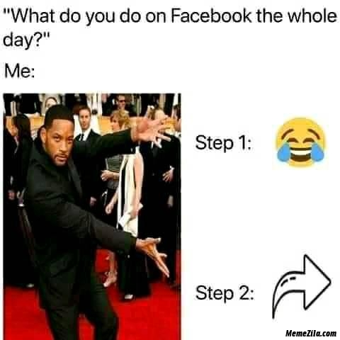 What do you do on facebook whole the day Me step 1 step 2 meme