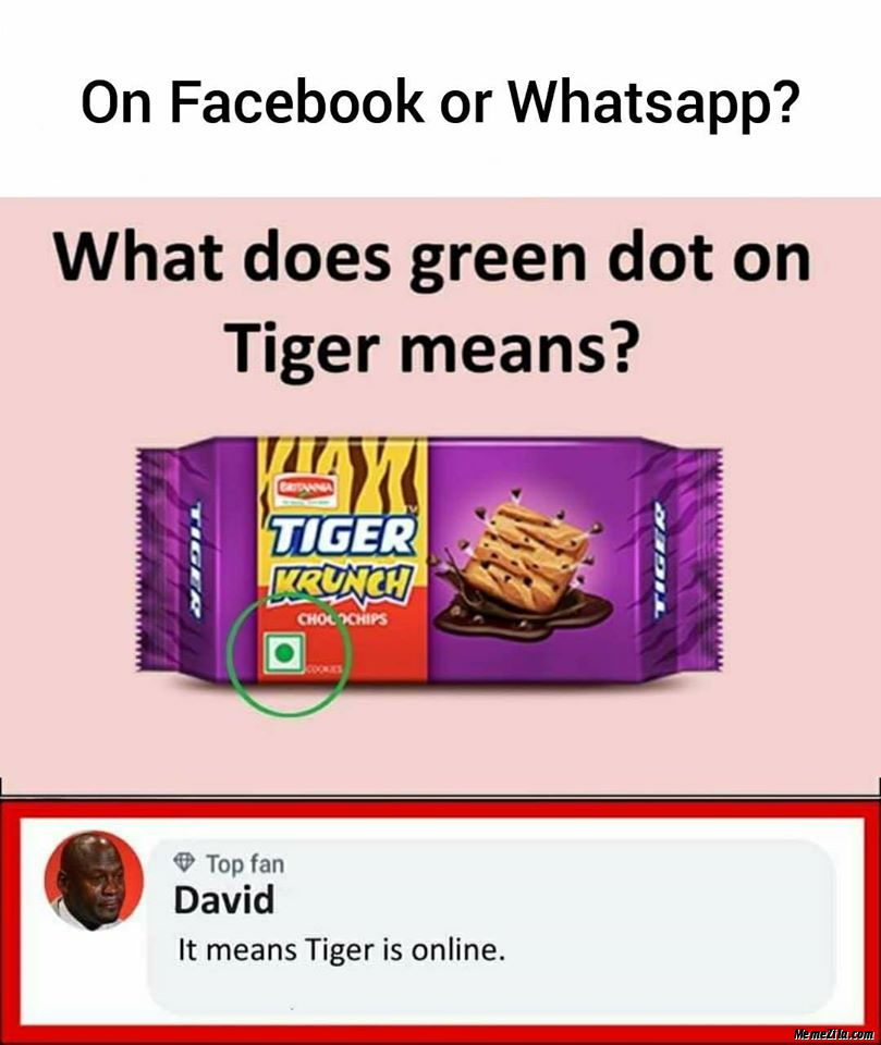 What does green dot on Tiger means It means Tiger is online meme