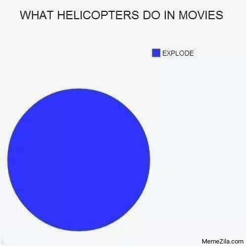 What helicoptors do in movies Explode meme