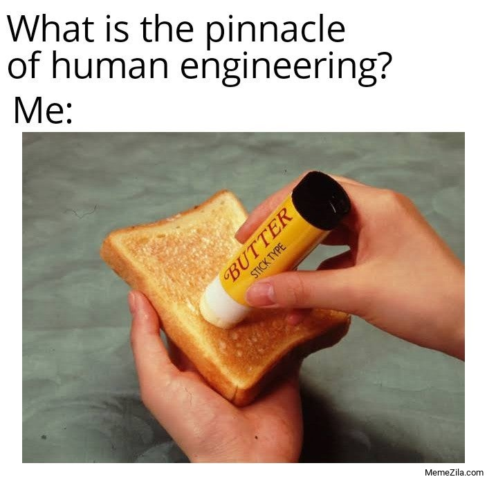 What is the pinnacle of human engineering Me Butter Stick type meme