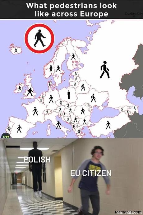 What pedestrians look like across Europe Polish Eu citizen meme