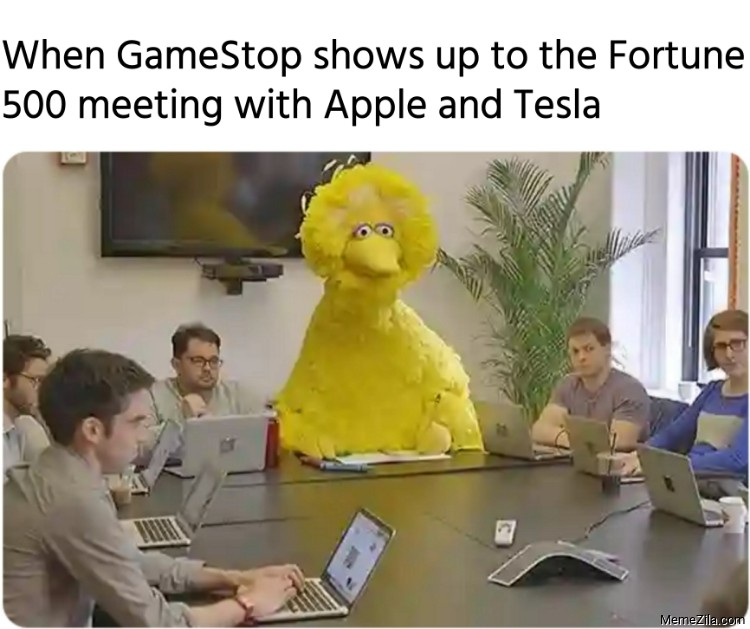 When GameStop shows up to the Fortune 500 meeting with Apple and Tesla meme