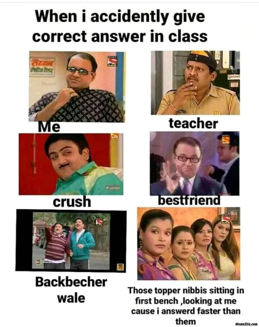When I accidentally give correct answer in the class meme