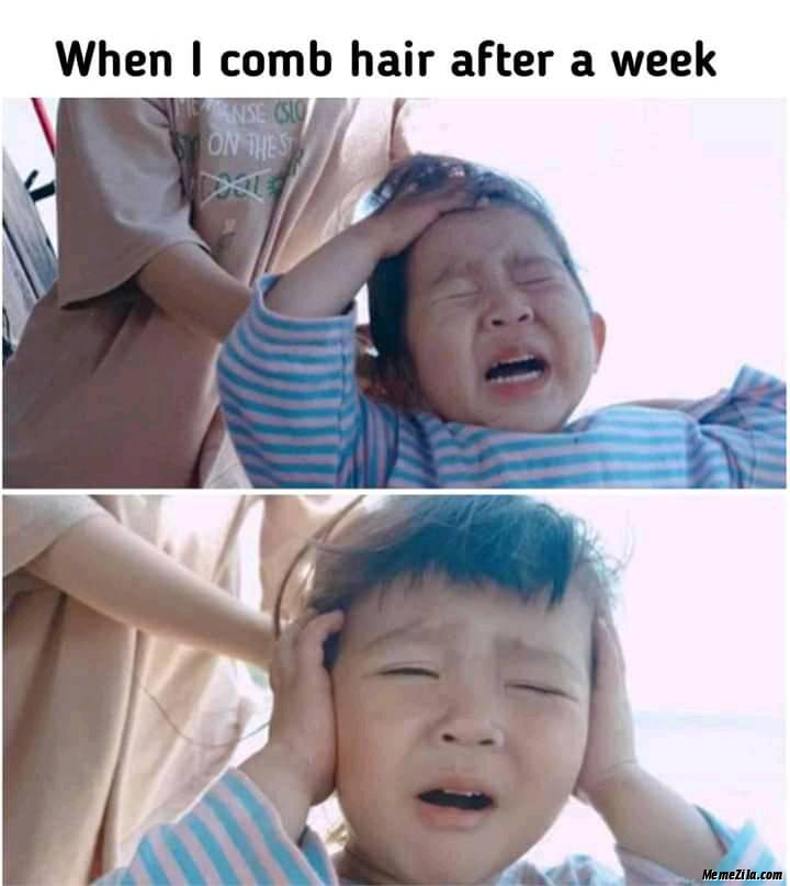 When I comb hair after a week meme