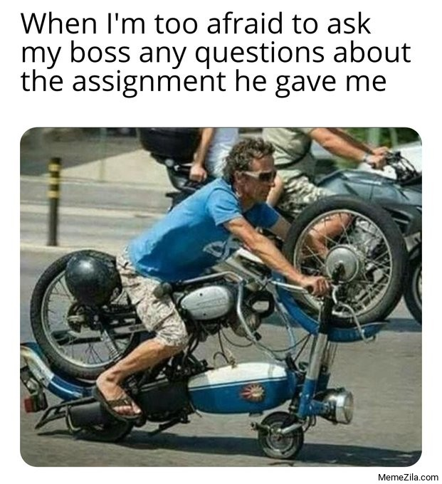 When Im too afraid to ask my boss any questions about the assignment he gave me meme