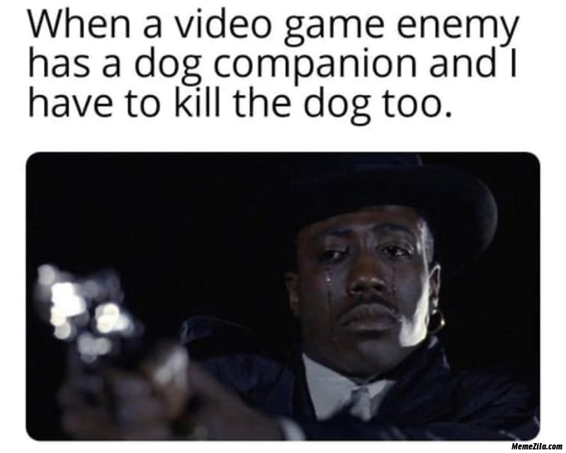 When a video game enemy has a dog companion and I have to kill the dog too meme
