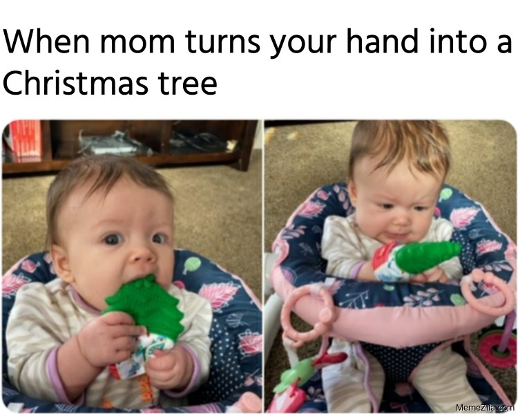 When mom turns your hand into a Christmas tree meme