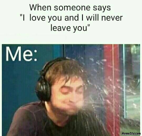 When someone says I love you and I will never leave you meme
