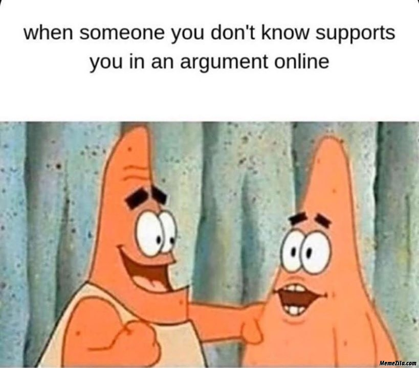 When someone you dont know supports you in an online argument meme