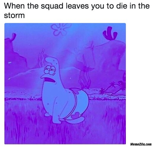 When the squad leaves you to die in the storm meme