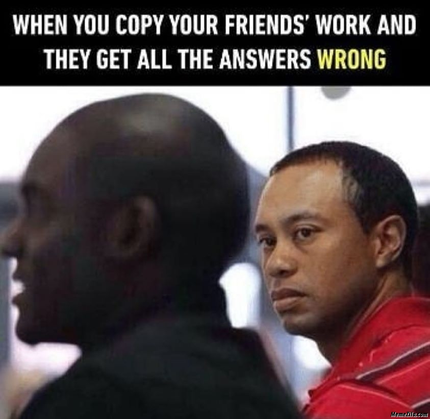 When you copy your friends work and they get all the answers wrong meme