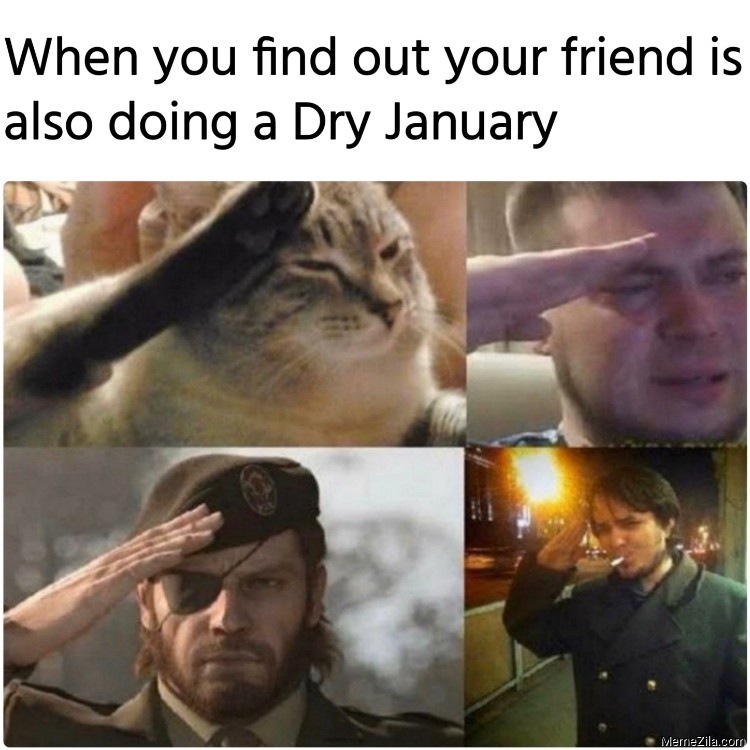 When you find out your friend is also doing a dry january Salute meme