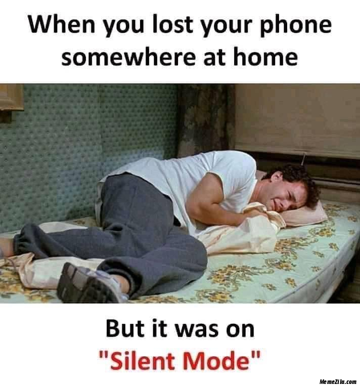 When you lost your phone somewhere at home But it was on silent mode meme