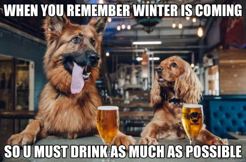 When you remember winter is coming So u must drink as much as possible meme
