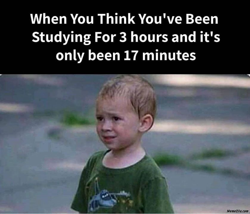 When you think you have been studying for 3 hours and its only been 17 minutes meme