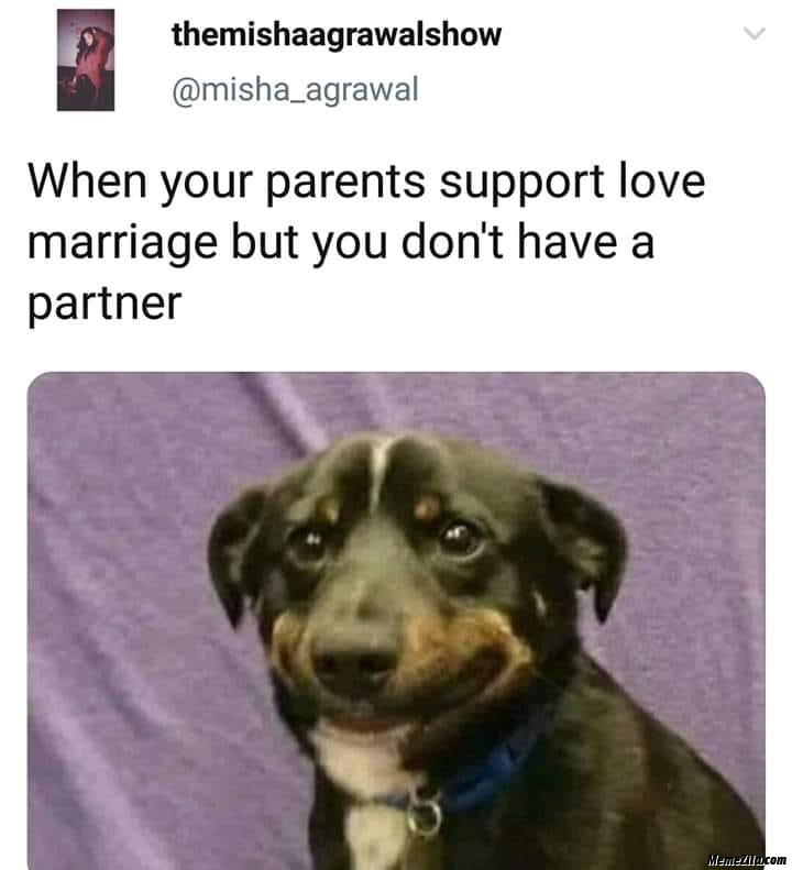 When your parents support love marriage but you dont have a partner meme