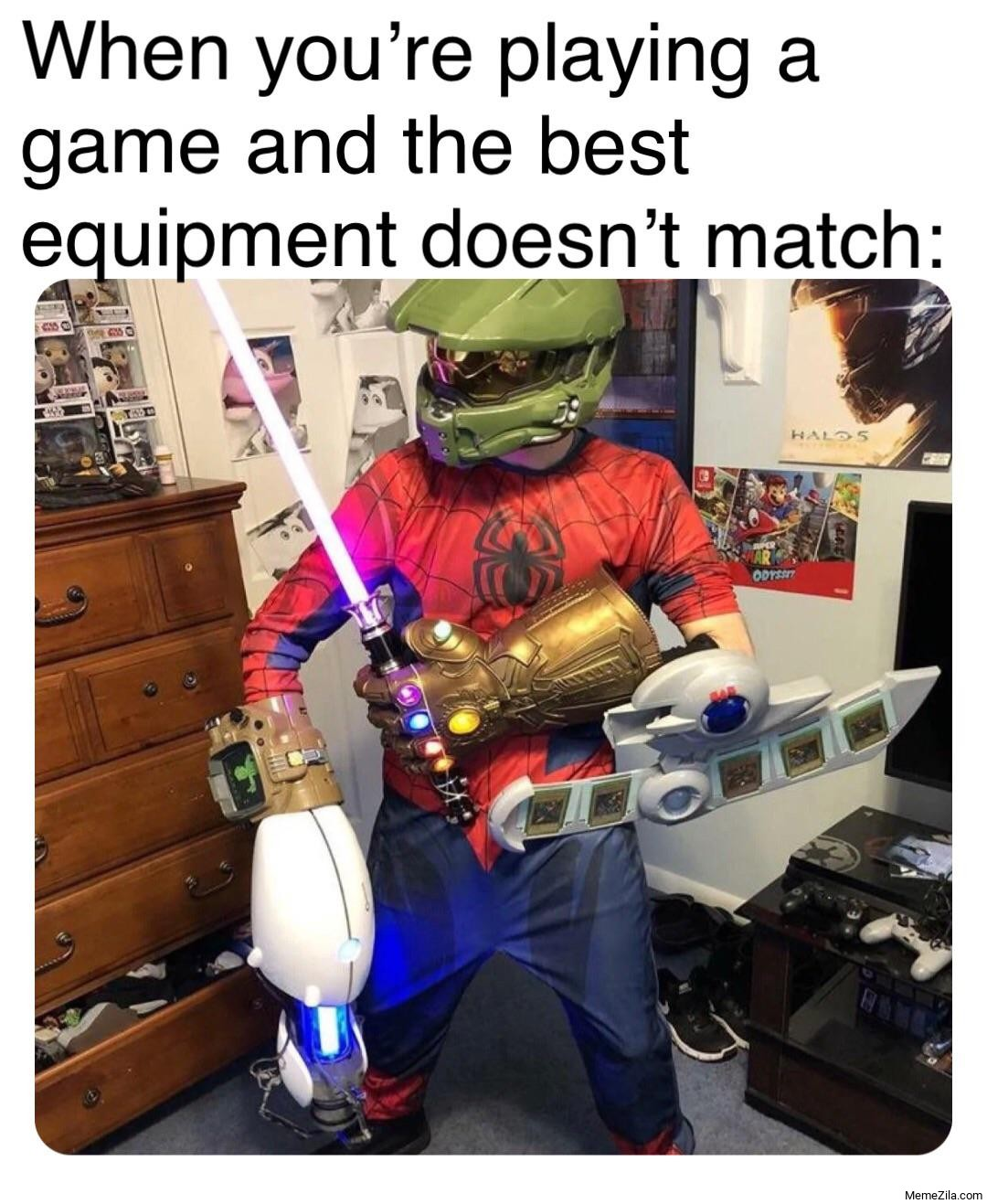 When you're playing a game and the best equipment doens't match meme