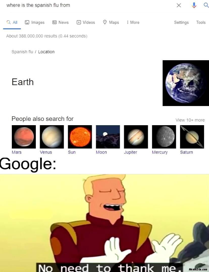 Where is spanish flu from Earth meme