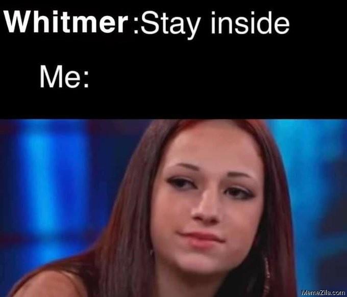Whitmer Stay inside Me Cash me outside meme
