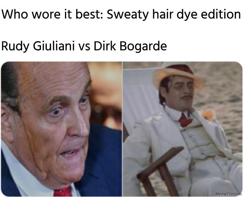 Who wore it best Sweaty hair dye edition Rudy Giuliani vs Dirk Bogarde meme