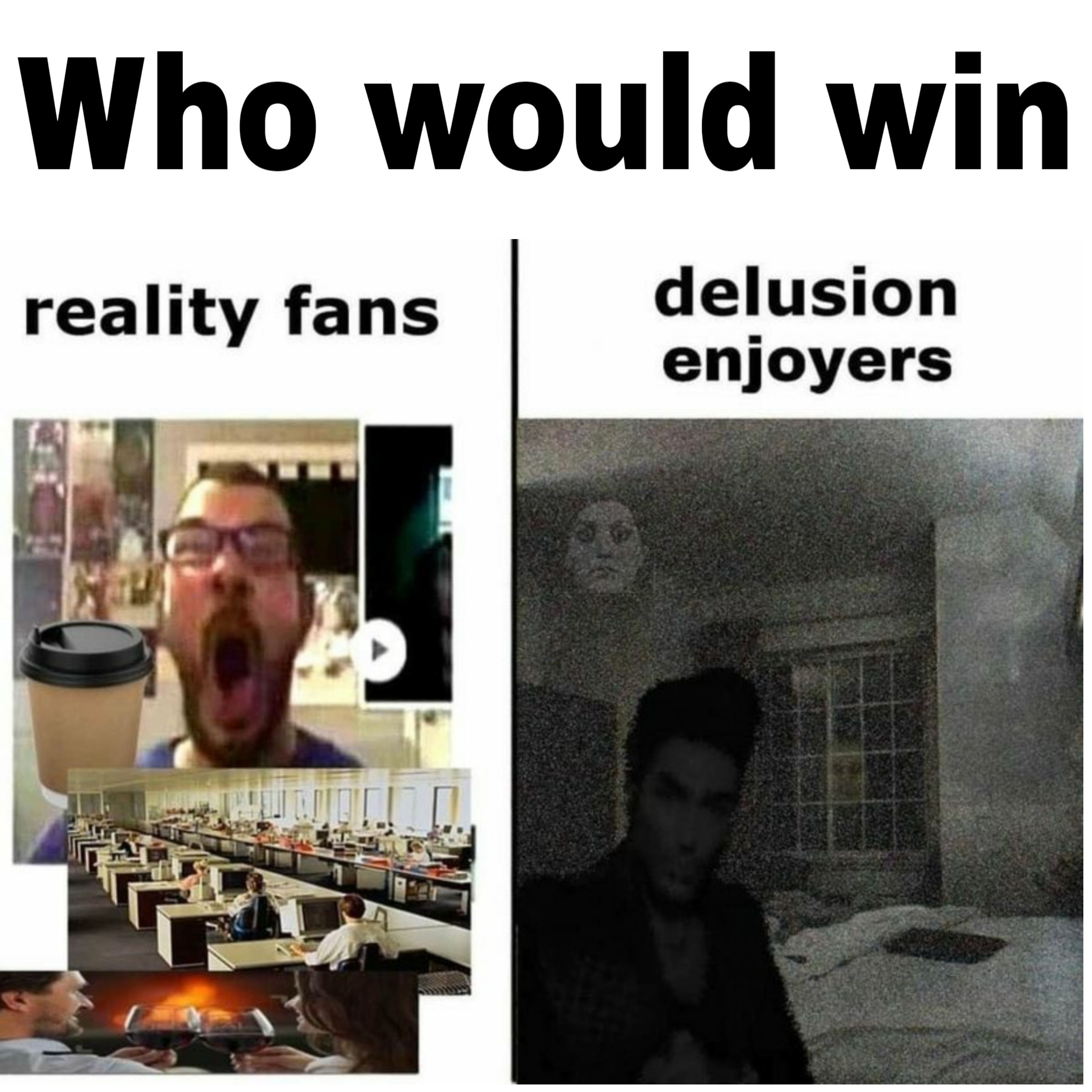 Who would win Reality fans Delusion enjoyers meme