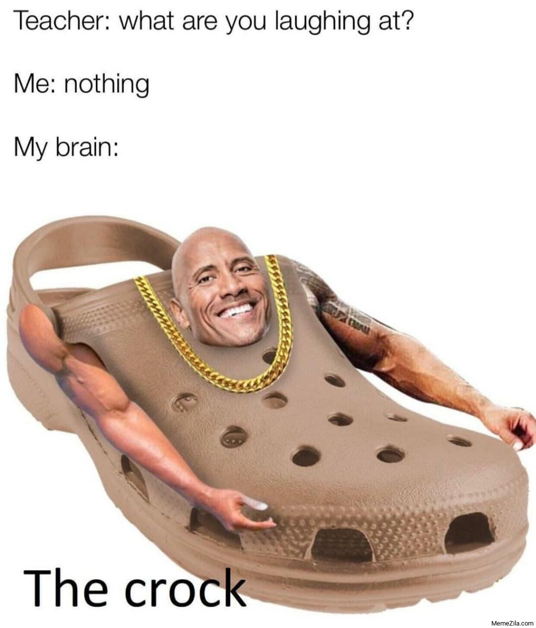Why are you laughing at Me nothing My brain The crock meme