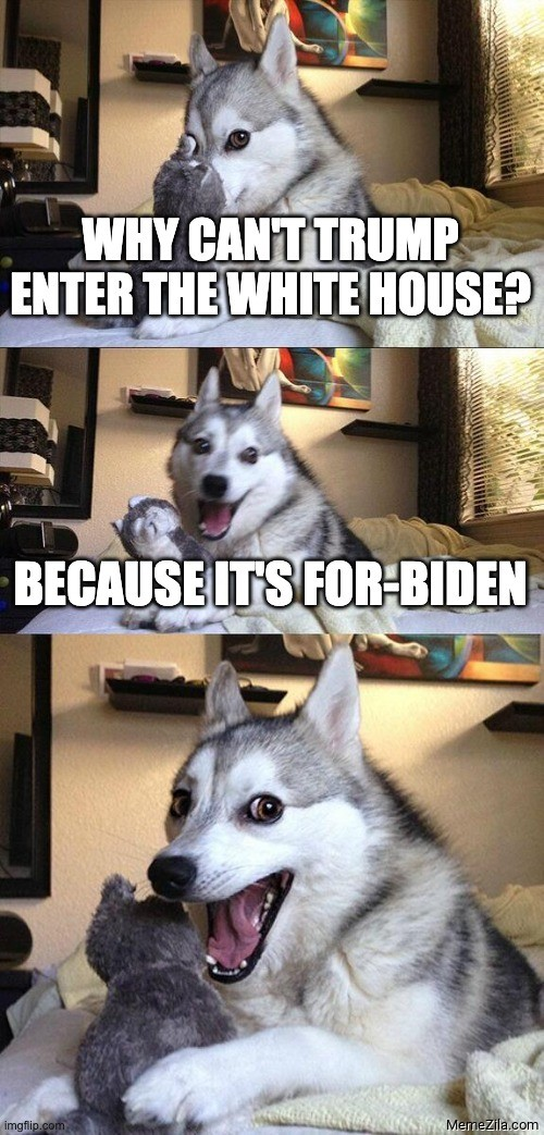 Why cant Trump enter the white house Because its for Biden meme
