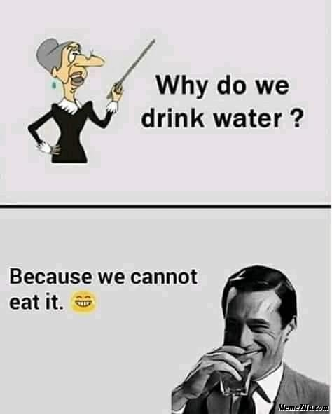 Why do we drink water because we cant eat it meme