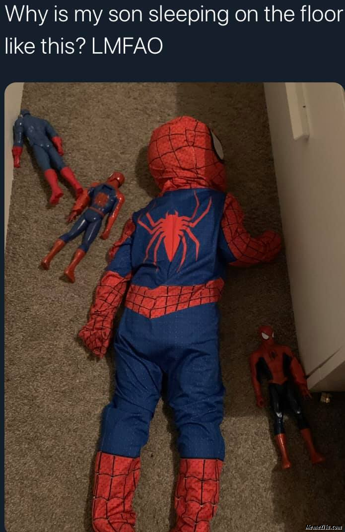 Why is my son sleeping on the floor like this LFMAO meme