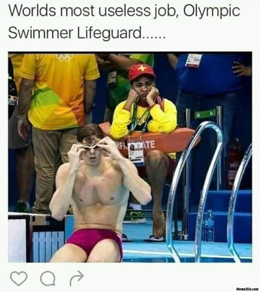 Worlds most useless job Olympic swimmer lifeguard meme