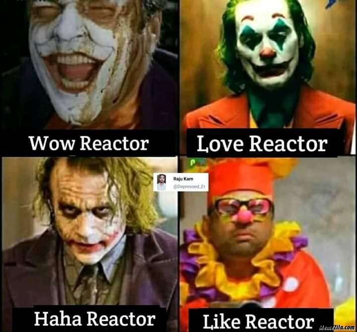 Wow reactor vs love reactor vs haha reactor vs like reactor meme