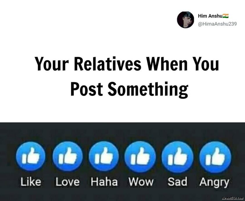 Your relatives when you post something meme