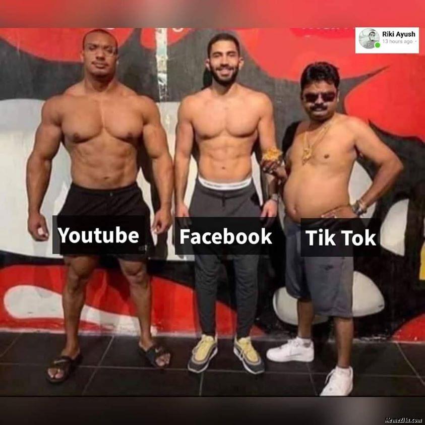 Youtube Facebook Tiktok meme
