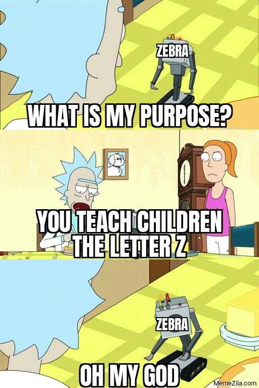 Zebra What is my purpose You teach children the letter Z meme