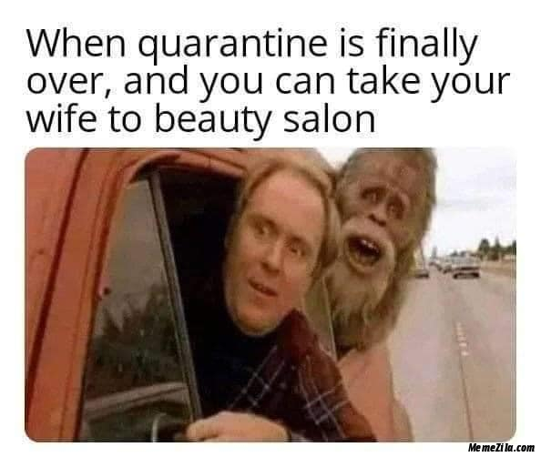 when quarantine is finally over and you can take your wife to beauty salon meme